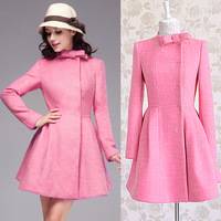 2014 autumn and winter rose bow gentlewomen slim waist dress doll expansion bottom overcoat woolen outerwear female