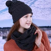 Fragrant knitted hat scarf twinset muffler scarf Dark a93q50754 gray
