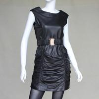 Women's genuine leather sheepskin one-piece dress o-neck all-match genuine leather one-piece dress
