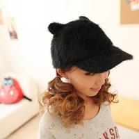 Rabbit fur furry baseball cap female hat windproof thermal cold cap