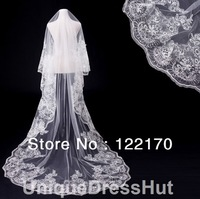 Free Shipping Cathedral Wedding Veil Cascade Style with Lace Edge luxurious Wedding Bridal Veil---Exquisite handmade craftwork