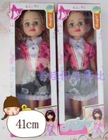 41cm music light emitting big eyes doll princess big gift box set small comb  Free shipping