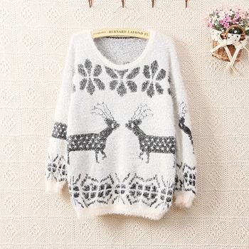 женские пуловеры зима свитер оленей свободные свитера милые свитера Рождество для женщин одежды 2013 новая мода снежинка Z365