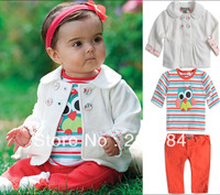 Children's clothing set baby gilrs' autumn owl short t-shirt +jacket+ pant 3-piece set ot baby sets 80 90 100