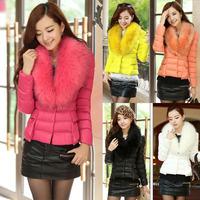 Wholesale - Fashion Warm Winter Elegant Slim Fit Women's Fur Collar Down Cotton Puffer Short Jacket Parka Overcoat Outerwear