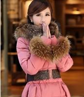 new 2014 fashion lady slim dowm feather fur collar medium-long winter down jacket  women's down coat outer wear free shipping