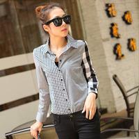 Wholesale Europe and America Woman Clothes Fashion Shirt Full Sleeve Plaid Women Blouses 2014 New Fashion Shirts 3 size