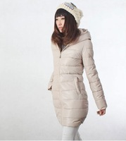 2013 winter new arrival women's slim down cotton-padded jacket Women medium-long with hood wadded jacket coat female