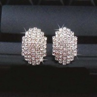 Free Shipping Elegant full rhinestone stud earring vintage earrings female accessories crystal small accessories large