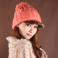 Knitted hat knitted fashion leopard print hat brim hat ball cap knitted hat warm hat