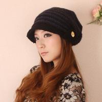 Personalized knitted hat ear millinery belt stripe thermal windproof hat sz40053