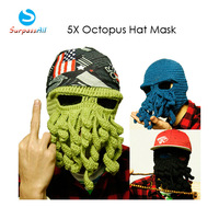 WHOLESALE 5X New Halloween Gift Octopus Pattern Ski Face Mask Knit Hat Squid Cap Beanie Winter