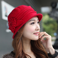 Luxury elegant autumn and winter cashmere bucket hats fashion millinery flower cap rabbit fur flowers female hat