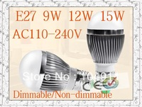Ultra Bright 9W/12W/15W LED Bulb Bubble Ball High Power E27 GU10 E14 B22 3*3W 5*3W Dimmable Lamp Light,AC85-265V,Cool/Warm White