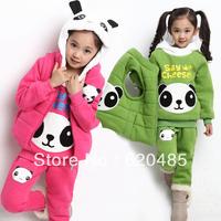 Free shipping Female Children's clothing   winter 2013 child cartoon sports set baby sweatshirt thickening plus velvet piece