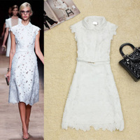 Fashion 2013 spring and summer female peter pan collar water soluble flower cutout lace flower over-the-knee white one-piece