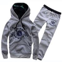 Autunm/winter men's Hoodies suit lovers' sportswear female S-XXL activewear gym suit hooded overcoat plus sports pants