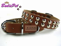New Year 2015 Big Dog Collar Genuine Leather Large Dog Pet Collar Double Bright Pearl Design