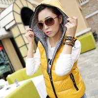 Autumn and winter vest all-match design casual short outerwear down cotton with a hood vest slim plus size vest women's