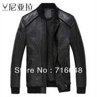 Leather clothing male slim sheepskin genuine leather clothing short design stand collar
