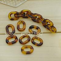 Free shipping 100pcs Detachable High quality  Plastic Chain Links 20*14mm U shape   leopard print