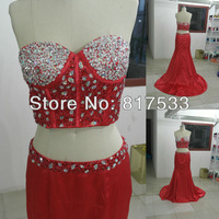 Real Samples Red Floor Length Rhinestone Details Long Two Pieces Prom Dresses Evening Gowns