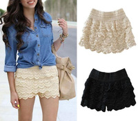 2013 Hot Sale Korean Fashion Womens Sweet Cute Crochet Tiered Lace Mini Skirt 2 Colors  M Free Shipping