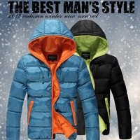 Free shipping Big Size M-5XL Men's warm winter hooded wadded jacket 2013 new casual mens winter quilted jackets outerwear