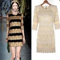 2013 spring women's fashion cutout rose vintage crochet long-sleeve slim one-piece dress 3140