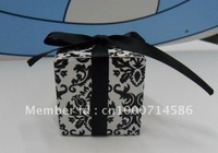 Free shipping! 5*5*5cm square damask candy box .chocolate box.wedding favor box