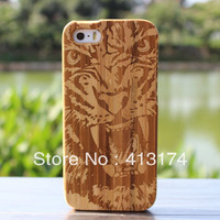 2013 New Tiger face bamboo wood case cover for iPhone 5/5S (cherry) + 1piece film screen protector = 2pieces/lot for iphone5