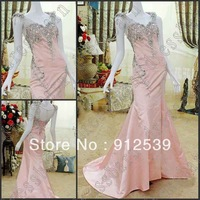 Free shipping 2013 Dazzing Sexy Cap Sleeves Evening dress New Crystals pink lady evening party gowns prom dresses