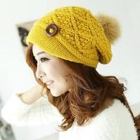 Korean  winter  woman's knitted hat wool cap Korean winter warm hat cap thick buttons crochet hat