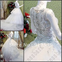 Free shipping Sexy A-Line 2013 Acme costly crystals Empire V Neck Beading Applique Exquisite ivory wedding dresses bride dress
