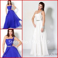 Gorgeous One shoulder Greek Goddess Beaded ruching Chiffon Evening Party Gowns Prom Dresses 2012