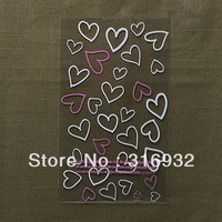 E1 Lovely 17*29cm heart Printed toast plastic food packing organza bags cookie packaging plastic bags