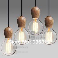 Free shipping 4p/lot Singlehead wood cute creative art minimalist chandelier Log handmade brief pendant light wood pendant light