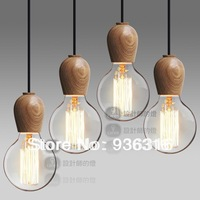 Free shipping 4p/lot Singlehead wood cute creative art minimalist chandelier Log handmade brief pendant light wood pendant light