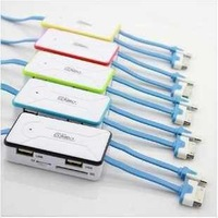 Free shipping the newest combo Hub,4 Port 2.0usb Hub,4 in 1 card reader,high speed usb splitter,RY9115