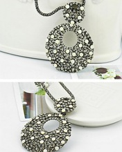 6pcs/lot High Quality Fashion European Style Gun Black Alloy Long Chain Rhinestone Hoop Pendant Necklace women jewlery Wholesale