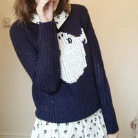 Free shipping Wholesale 2013 autumn&winter Women's o-neck long sleeve knitted sweaters Ghost print  Casual  pullovers Due152