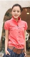 Stand collar cotton women's 100% short-sleeve loose casual female shirt cute shirt short-sleeve shirt female summer