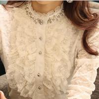 2013 autumn basic shirt female long-sleeve turtleneck lace decoration beading shirt female stand collar ol elegant