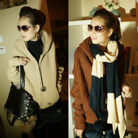 2013 autumn and winter women's unique zipper with a hood female thickening sweater outerwear female hooded