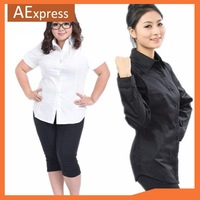 Spring & Autumn Slim Shirt for Women, White & Black Occupation Shirt with Plus Size, L, XL, XXL, XXXL, P-138