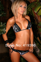 Free Shipping HOT Ladies Tiny Bikini Lace Trim Black White Striped Swimwear for Summer Sexy Zebra Bikini CL37004