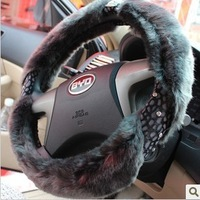 Four seasons car steering wheel cover luxury vip dad steering wheel cover plush steering wheel