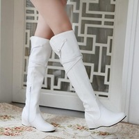 Boots female spring and autumn boots elevator single boots flat heel autumn women's shoes high-leg over-the-knee boots white