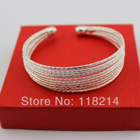 Free shipping Fashion Korean Style Bracelets MultiLayer 925 Silver Plated Openable Bracelets Bangles DB084