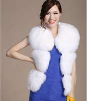 FREE SHIPPING High quality high quality fox fur short design sleeveless vest fur outerwear  fur coat